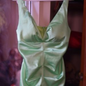 Satin Seabreeze Green Dress